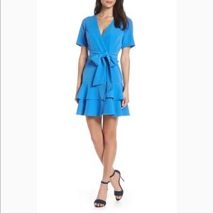 Charles Henry Blue Tiered Ruffle Wrap Dress XXL